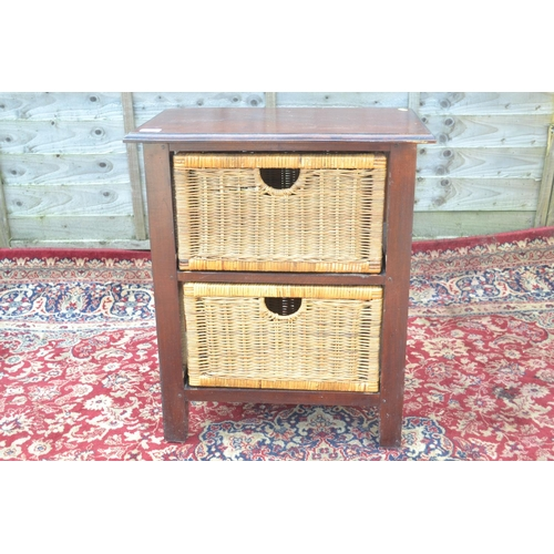 41 - 2 drawer unit with wicker drawers W57 D36 H68cm