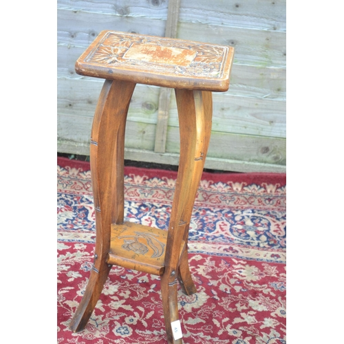 45 - Oriental carved topped side table/plant stand W29 D30 H61