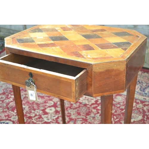 48 - 1 Drawer side table with marquetry top W51 D40 H69cm