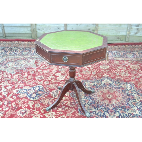 49 - Leatherette topped octagonal drum table with 2 drawers W50 H56cm