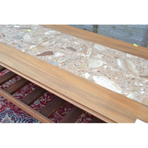 55 - Teak framed Coffee table with hardstone inset W131 D56 H52cm