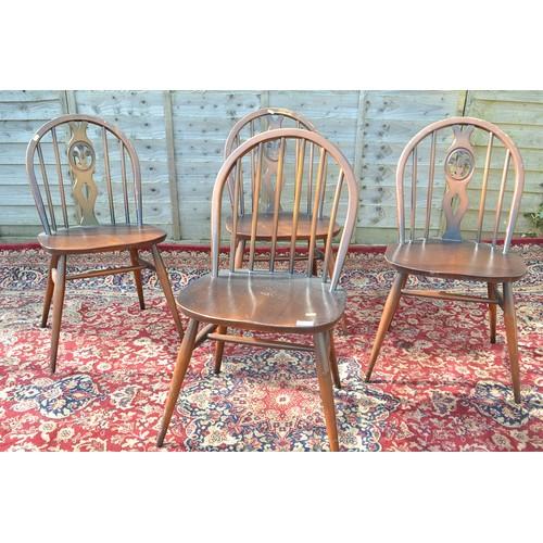 22 - 4 Dark Ercol chairs, 3x Fleur de lis 1 stick back
