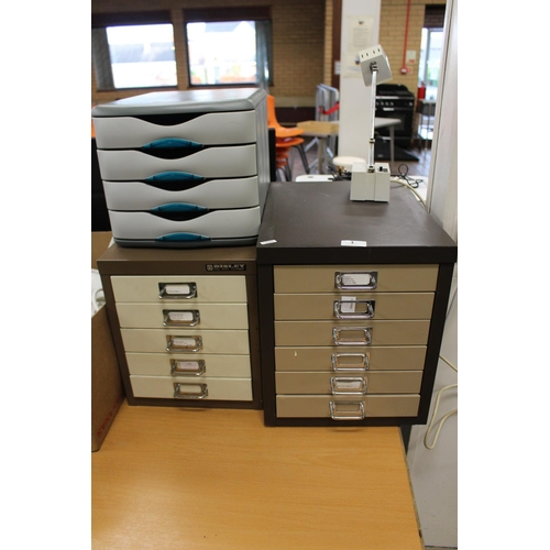 1 - 2 X METAL FILE DRAWERS AND A PLAST FILE DRAW...