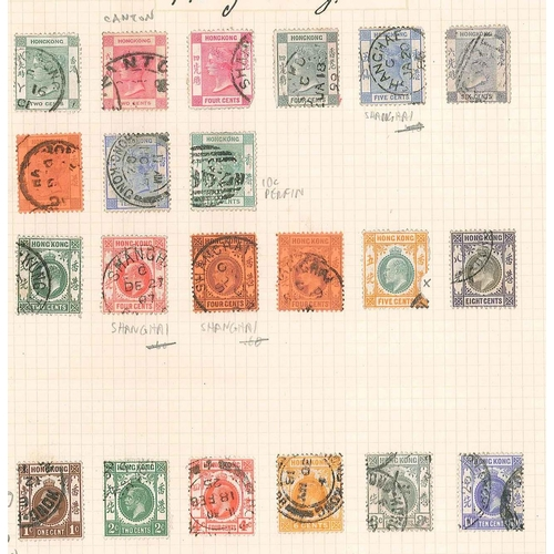 143 - Hong Kong; page of QV to KG5 inc. Canton and Shanghai cancels. Mixed condition (see scan). Cat. c.£5...