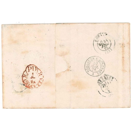 152 - India; 1871 cover Calcutta to Cognac (France) with four adhesives (2 x 1865 8p, 1866-78 4a, 1868 8a)...