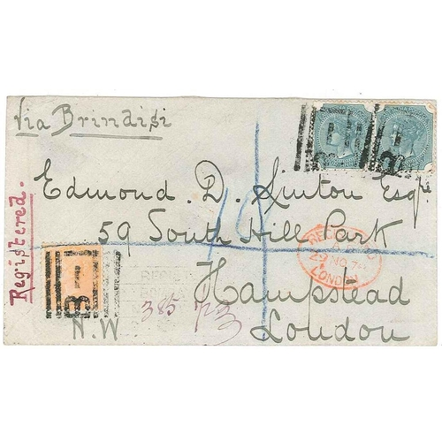 153 - India; 1878 registered cover to London with three adhesives (pair of 1866-78 4a pair, 1865 2a) cance...