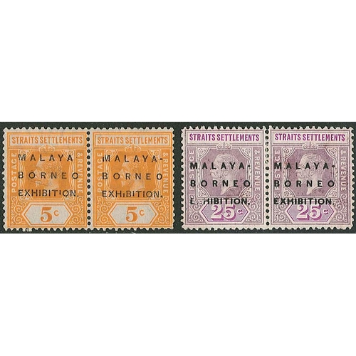 "173 - Malaya; Straits Settlements; 1922 Exhibition wmk. Mult. Crown CA 5c m.m. pair, one with short ""I"" va..."