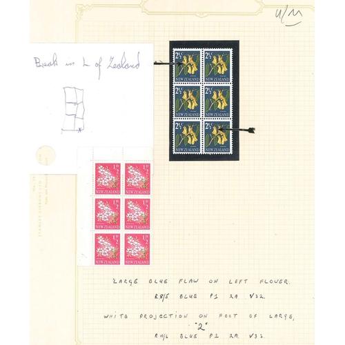 "184 - New Zealand; 1960-66 Flower ½d u.m. sixblock (hinged on margin) one with ""broken L"" in ""ZEALAND"", an..."
