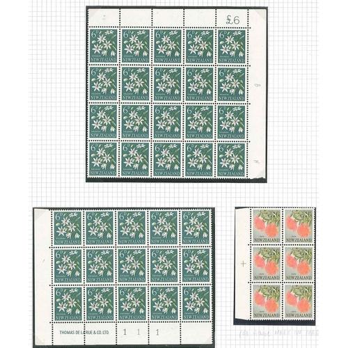 185 - New Zealand; 1960-66 6d upper-right corner block of 20, 6d lower-left corner block of 15 with  impri...