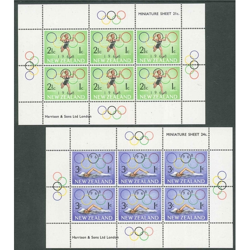 191 - New Zealand; 1968 Health (Sports) set of two min. sheets unmounted mint, cat.£11....