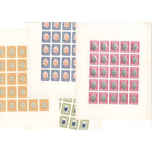 199 - North Ingermanland; Forgeries; 1920 pictorial set (7) in mint perforated fourblocks, plus the same s...