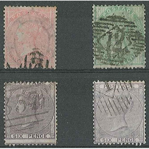 228 - UK; 1855-57 no corner letters 4d (sl. faded, short perfs), 6d (2 shades), and 1/- sound used, all wi...