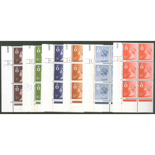 240 - UK; Country Stamps; 1976-78 u.m. cylinder blocks of six for Northern Ireland 7p, 8½p, 9p, 10p 2B, 10...