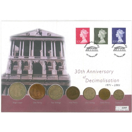 251 - UK; Philatelic Numismatic Covers; 2001 cover for 30th Anniv. of Decimalisation, with 1970 10p, 20p, ...