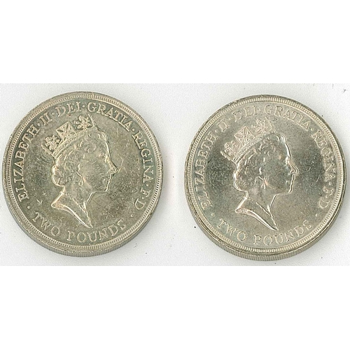 26 - Coins; United Kingdom; 1989 £2 Claim of Right, and £2 Bill of Rights, EF....