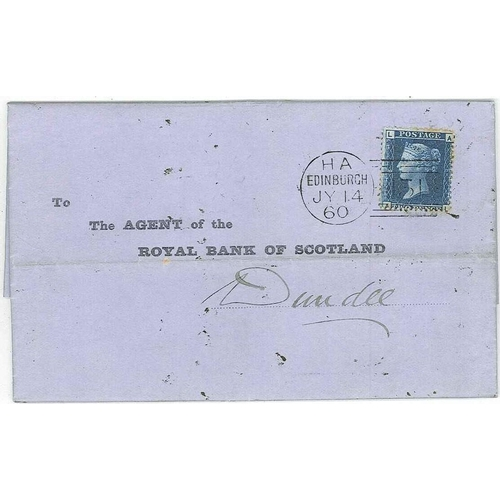 261 - Scottish Covers and Postal History; 1860 2d blue plate 8 f.u. on entire Edinburgh to Dundee, toning ...