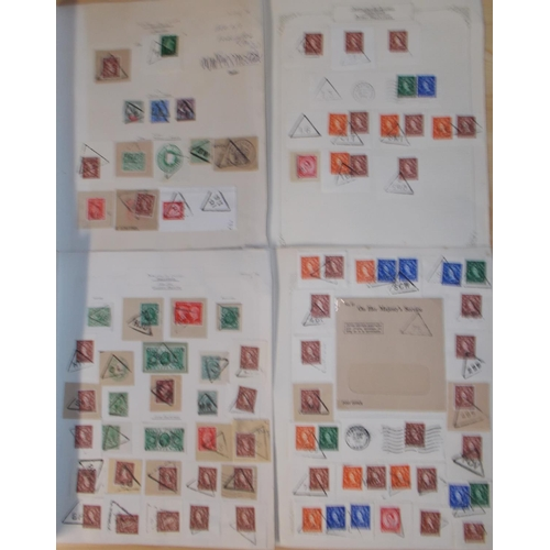 266 - U.K. Covers and Postal History; small colln. of triangular cancels on piece or cover, on QV to QE st...