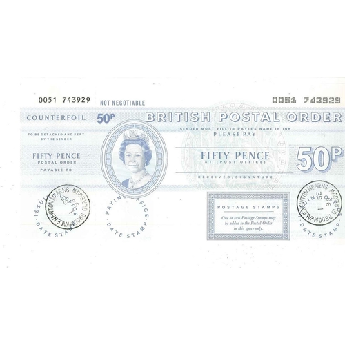 269 - UK; Postal Orders; 50p Postal Order, datestamped Broomvale Newton Mearns 1994, with counterfoil....