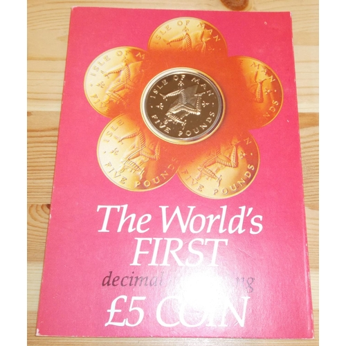 """30 - Coins; Isle of Man; 1981 £5 virenium coin proof in presentation card, """"PM"""" mintmark, cat.$14...."""