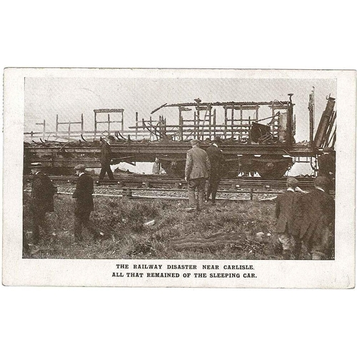 """44 - Postcards; England; 1915 card showing """"THE RAILWAY DISASTER NEAR CARLISLE./ALL THAT REMAINED OF THE ..."""