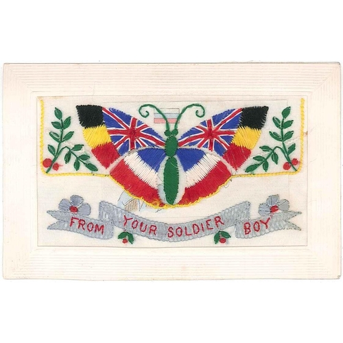 """51 - Postcards; First World War Silks; ; butterfly design """"From Your Soldier Boy"""", pocket with insert car..."""