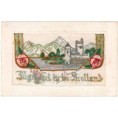 "52 - Postcards; First World War Silks; ; ""My heart is in Scotland"" castle and mountains design with inser..."