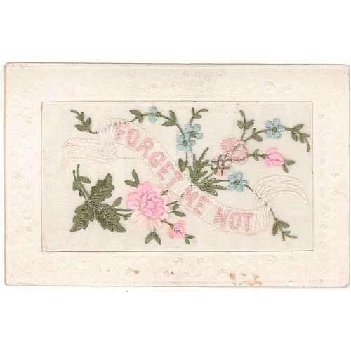 """54 - Postcards; First World War Silks; ; """"Forget Me Not"""" with flowers, marks at foot...."""