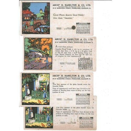 56 - Collectables; Advertising; four blotter cards from 1939, by Archd H. Hamilton & Co, Possilpark, Glas...