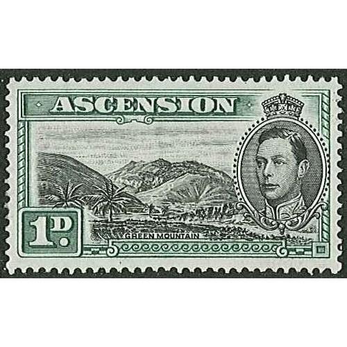 72 - Ascension; 1938-53 1d Green Mountain black & green l.m.m./m.m., SG 39 (cat.£45 for u.m.)....