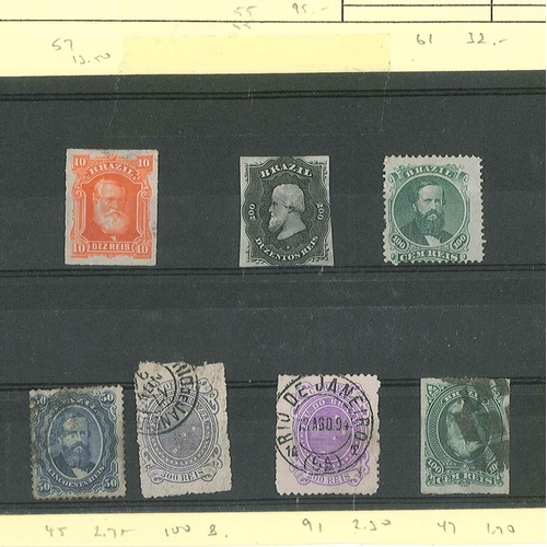 84 - Brasil; seven earlier stamps - unused SG (S.o.W.) 55, 57, 61, and used SG 45, 47, 91, 100. Cat.£155....