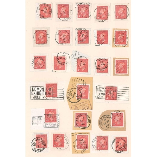 92 - Canada; a page of postmarks, mainly c.d.s., all on 1949-51 4c on small pieces. (26)...