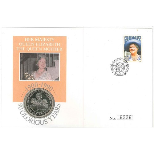 12 - Philatelic Numismatic Covers; Isle of Man; 1990 Queen Mother cover with encapsulated 1990 I.o.M. cro...