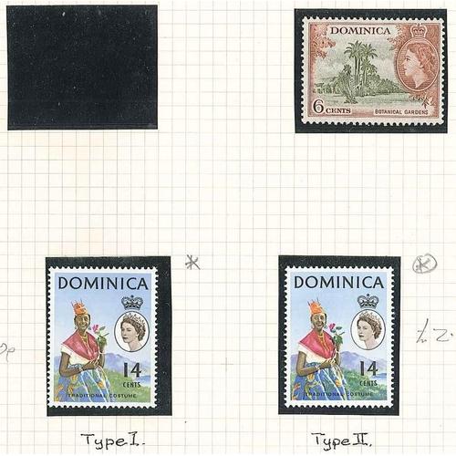 "101 - Dominica; 1963-65 14c ""eyes left"" type II u.m., SG 171a cat.£2. Also type I l.m.m...."
