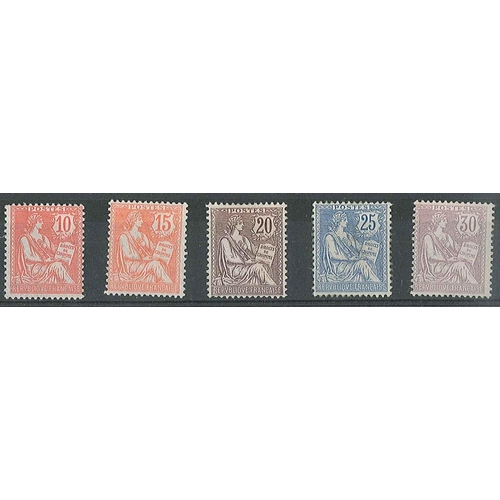 108 - France; 1902 Mouchon set (5) mixed m.m. - 10c good m.m., 15c good m.m., 20c m.m. (gum thins), 25c lo...
