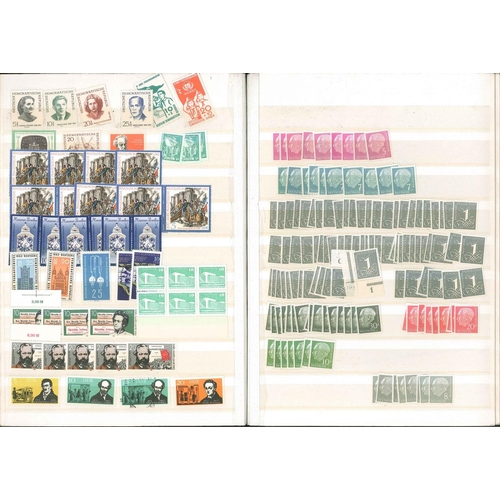 113 - Germany; stockbook with just a few pre-war, then mainly duplicated West and East Germany mint (these...