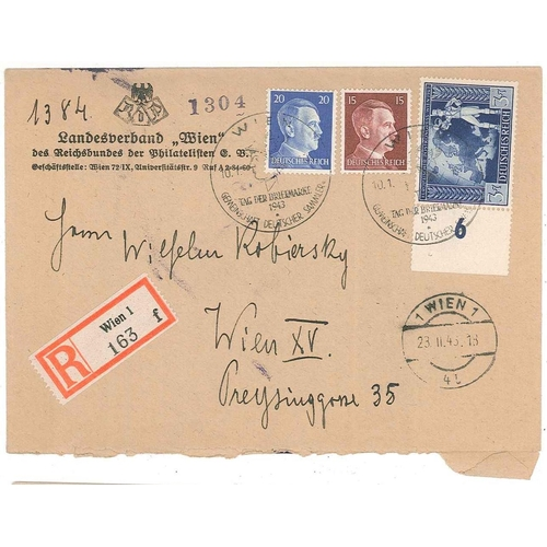 120 - Germany; 1943 local registered Vienna cover with two Hitler stamps and 1942 Postal Congress 3+7pf, c...