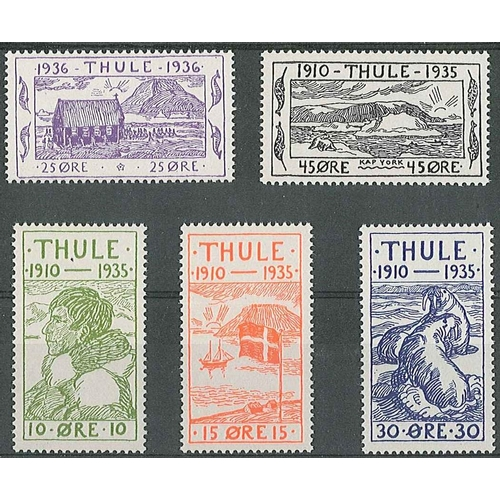 142 - Greenland; Thule; 1935-36 set (5) u.m. (couple minor blemishes)....