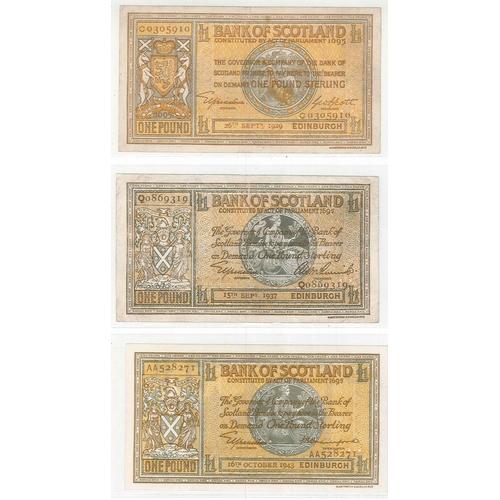 102 - Banknotes; Scotland; Bank of Scotland; 1929 (26 Sep.) £1 F. (PMS BA94, cat.£70), 1937 (15 Sep.) £1 F...