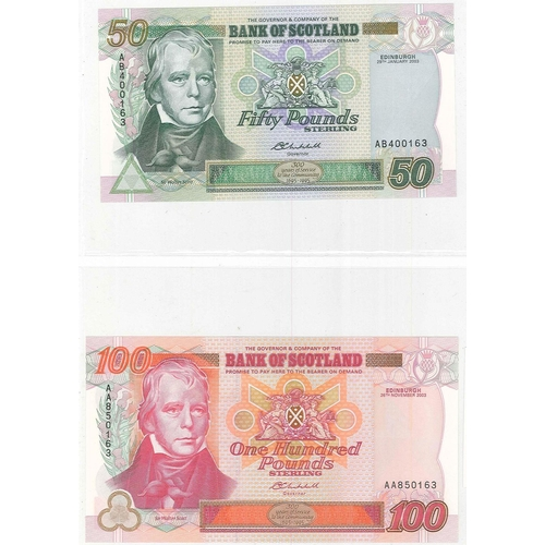 108 - Banknotes; Scotland; Bank of Scotland; 1996-2003 set of five notes in Tercentenary issue, comprising...