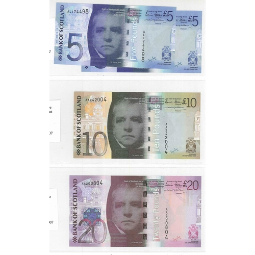 109 - Banknotes; Scotland; Bank of Scotland; 2007 Bridges issue set of five notes all dated 2007, inc. ext...