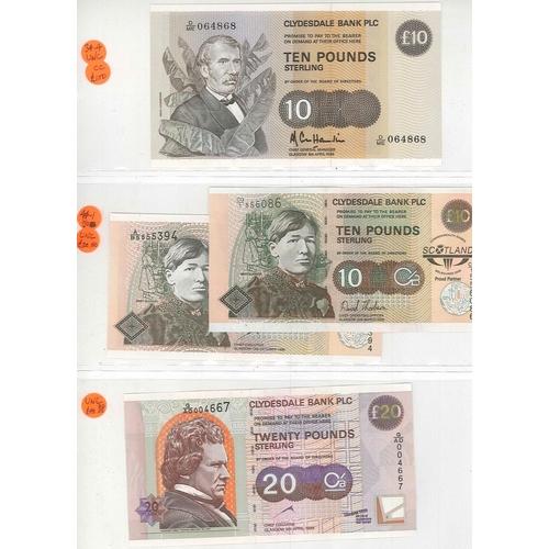 115 - Banknotes; Scotland; Clydesdale Bank; 1985-2006 selection comprising £5 (2002), £10 (1985, 1989, 199...