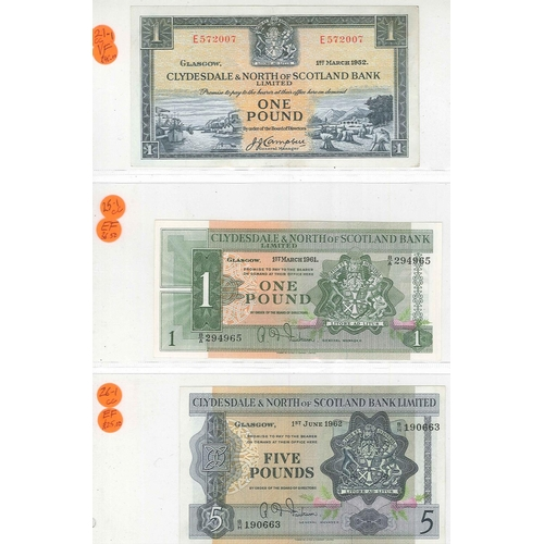 118 - Banknotes; Scotland; Clydesdale and North of Scotland Bank; 1952-62 four notes; £1 1952 (1 Mar.) VF,...