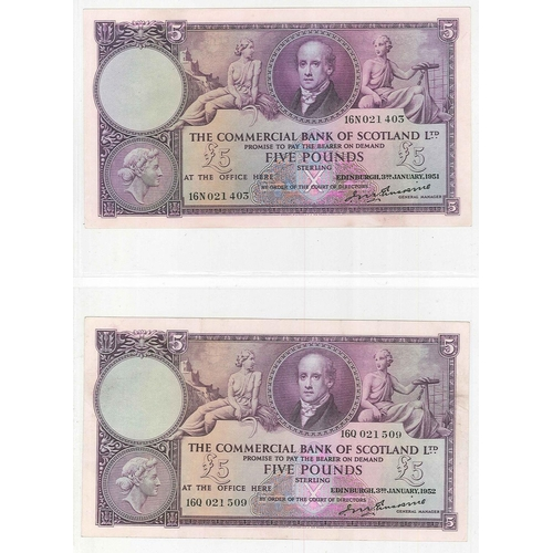 120 - Banknotes; Scotland; Commercial Bank of Scotland; 1931 (1 June) £1 note VG/F, 1942 (3 Mar.) £5 VG, 1...