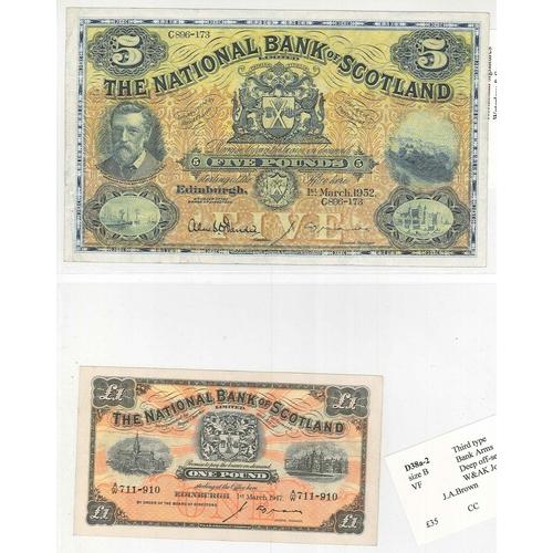 122 - Banknotes; Scotland; National Bank of Scotland; 1947 (1 Mar.) £1 note, VF, PMS NA48 cat.£40., and 19...