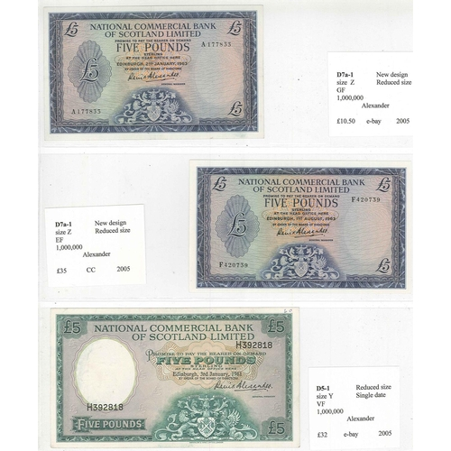 123 - Banknotes; Scotland; National Commercial Bank of Scotland; 1959-68 seln. of £1 (4) and £5 (3), gener...