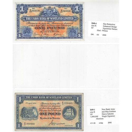 132 - Banknotes; Scotland; Union Bank of Scotland; 1938 (31 May) £5 VG, 1942 (14 Jan.) £1 EF, 1952 (7 Apr....