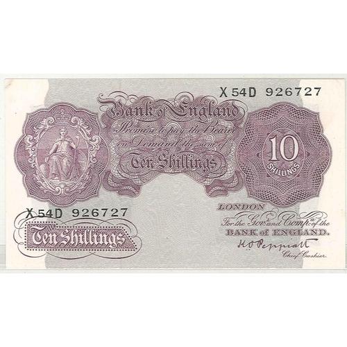 137 - Banknotes; England; 1940 10/- mauve, prefix