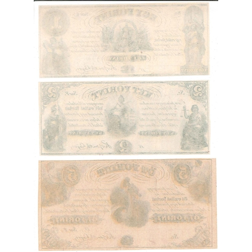 140 - Banknotes; Hungary; c.1860 three unissued notes printed in Philadelphia, USA, for the Hungarian Gove...