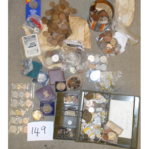 """149 - Coins; Mixed box of mainly common UK, and some foreign. Includes some UK pre-47 silver, a 1953 """"plas..."""