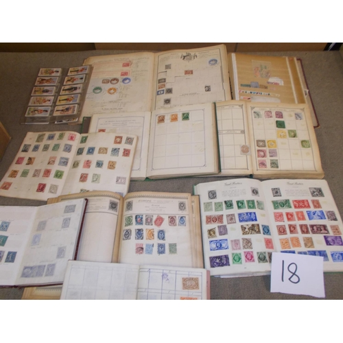 18 - Collections and Mixed Lots; A box with four old albums – a Lincoln 13th edition, a Stevens dated 187...